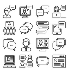 communication chat and speech bubble icons set vector image