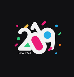 Creative colorful happy new year 2019 design logo vector