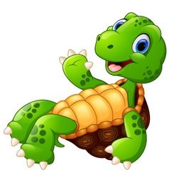 Cute cartoon of a waving turtle vector