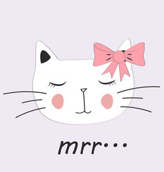 Cute cat little kitty with glasses bow vector