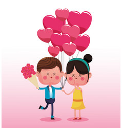 Cute couple in love cartoons vector