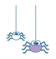 cute spiders hanging halloween decoration vector image