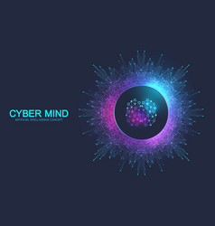 cyber mind and artificial intelligence concept vector image