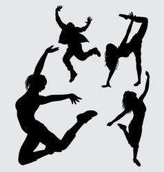 Dancer male and female action gesture silhouette vector