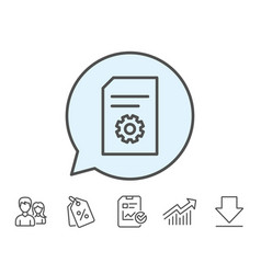 Document management icon file with cogwheel vector