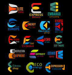 e icons company and brand corporate identity signs vector image