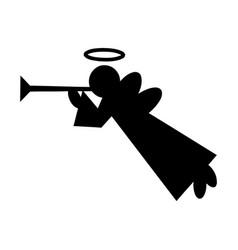 element silhouette single christmas angel vector image