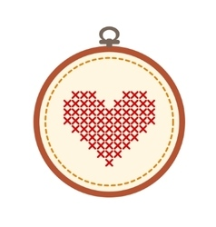 embroidery hoop with heart isolated on white vector image