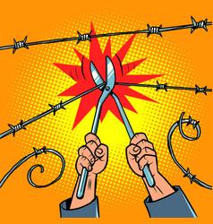 Escape from prison to freedom the prisoner cuts vector