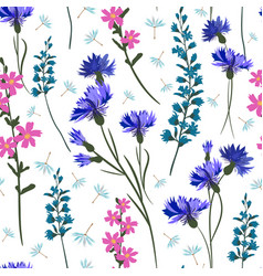 field-flowers leaves and herbals seamless vector image