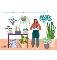 Florist caring for indoor plants flower shop or vector