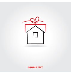gift house icon vector image vector image
