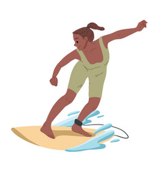 girl surfing riding on water summer leisure vector image