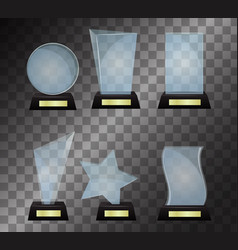 glass trophy award isolated on vector image