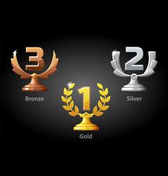 Gold silver bronze awards for winner vector