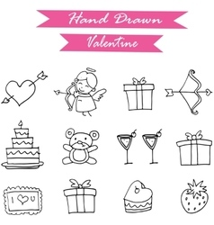 Hand draw of valentine element vector image
