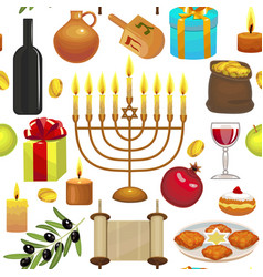 hanukkah celebration pattern vector image