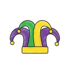 Harlequin hat mardi gras carnival icon image vector