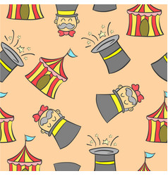 Hat and tent circus doodles vector