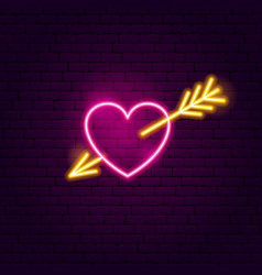 Heart with arrow neon sign vector