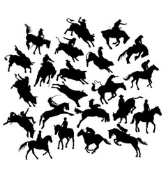 Horses and rodeo silhouettes vector