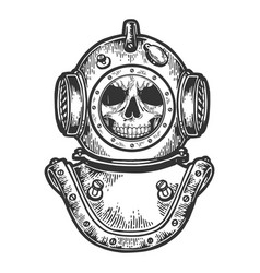 Human skull in diving helmet sketch engraving vector