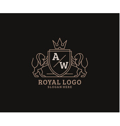 Initial aw letter lion royal luxury logo template vector
