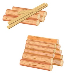Isolated logs and planks of wood on a white vector