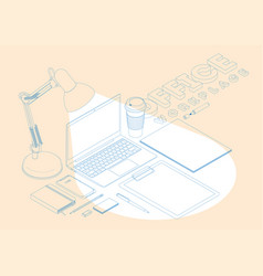isometric concept of workplace with computer vector image