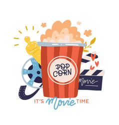 its movie time - print concept with lettering vector image