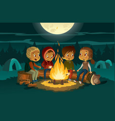 Kids camping in forest at night near big fire vector