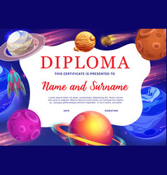 Kids education diploma with space planets vector