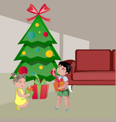 Kids opening gifts on christmas vector