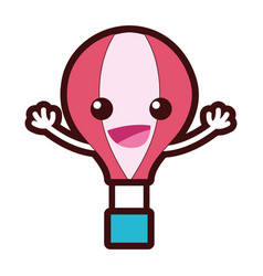 Line color happy air balloon kawaii with arms vector