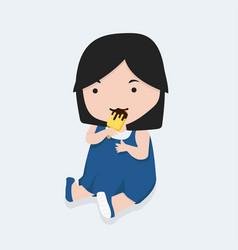 little girl with bitten yellow stick ice cream vector image