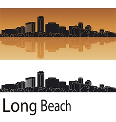 Long Beach skyline in orange background vector