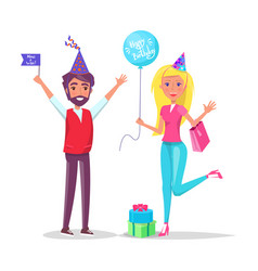man and woman in cartoon cone shape hats greetings vector image