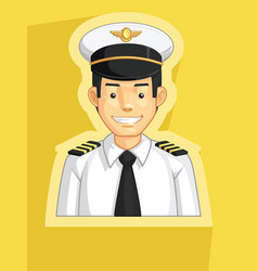 Mascot pilot air force officer profile avatar vector