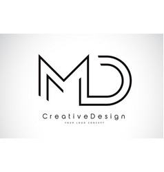 Md m d letter logo design in black colors vector