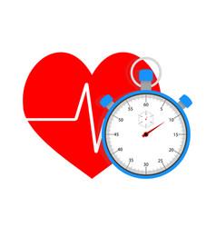 Measure pulse stopwatch vector
