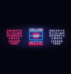 Medical online neon sign design template medical vector