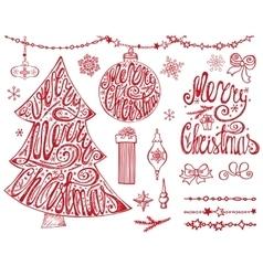 Merry Christmas treeballsLetteringgarlands vector