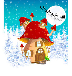Mushroom house in the winter forest 1 vector
