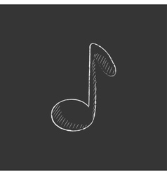 Music note Drawn in chalk icon vector