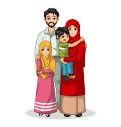 Muslim Family Cartoon Characters vector