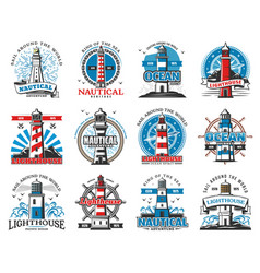 Nautical lighthouse buildings beacon icons vector
