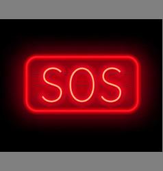 Neon sign sos the inscription on a dark background vector