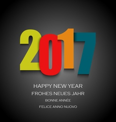New Year card with colored numbers on dark vector image