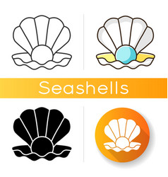 open clam with pearl icon vector image