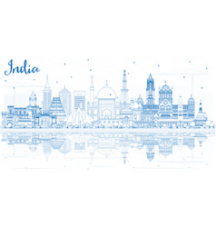outline india city skyline with blue buildings vector image